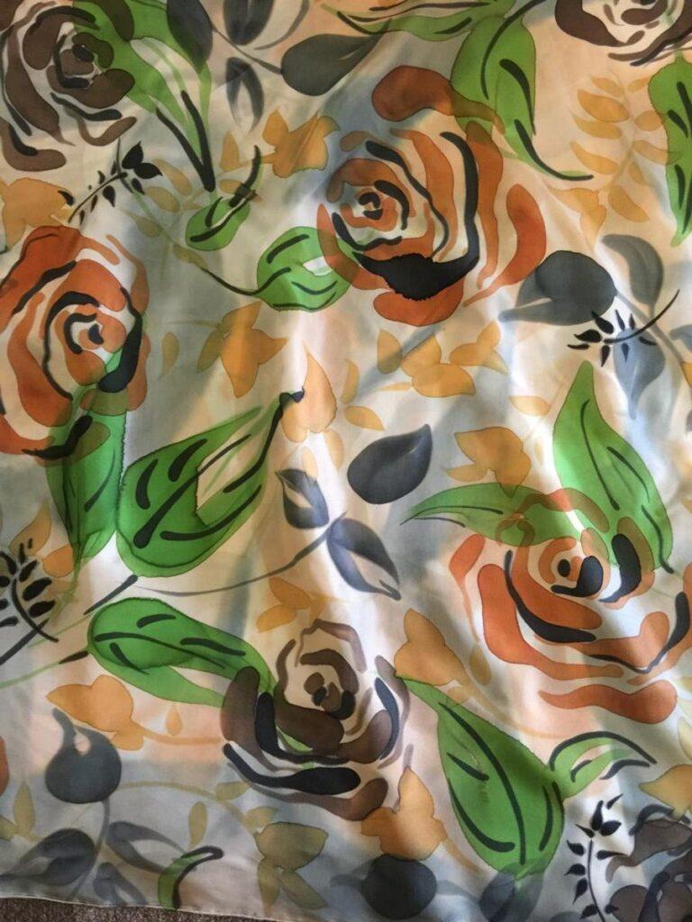 White Silk With Orange Flowers