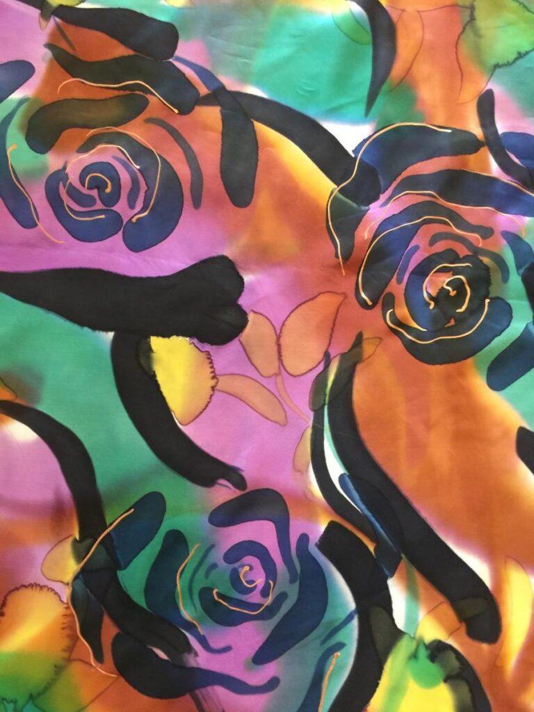 Silk with Black Printed Flowers