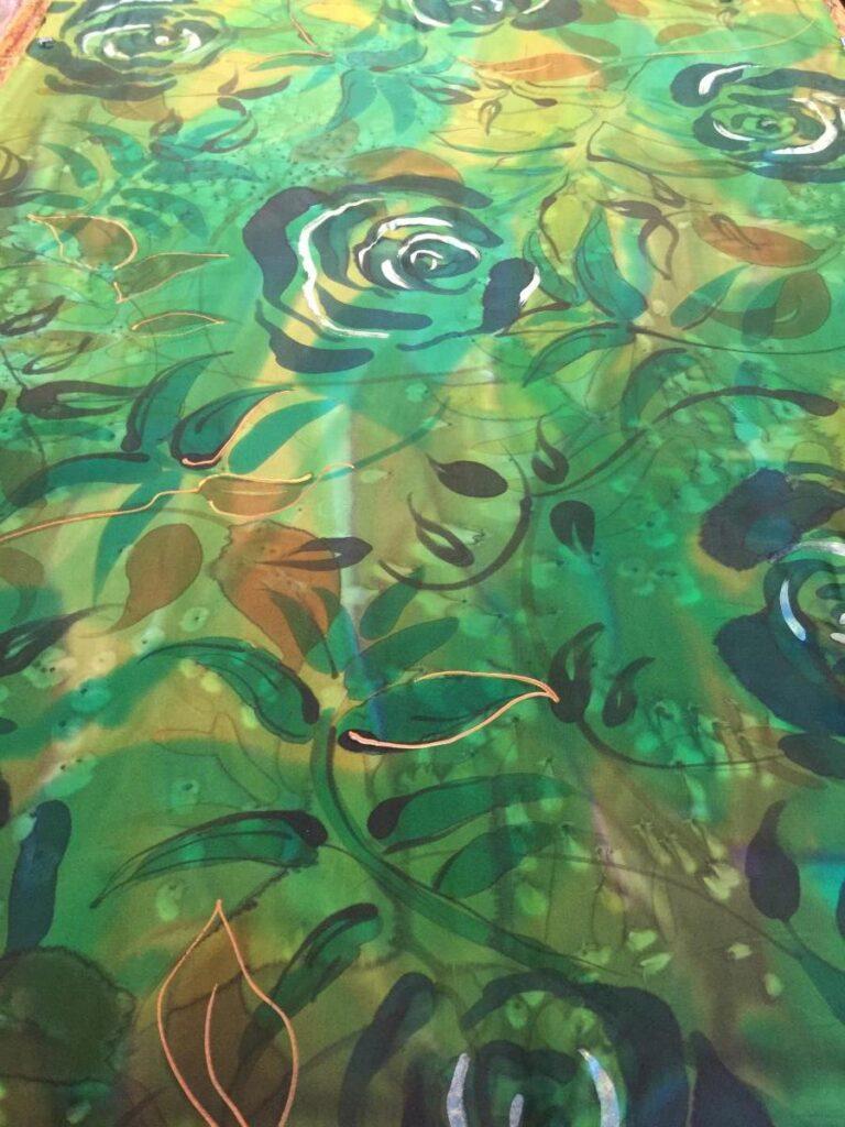 Green Printed Silk