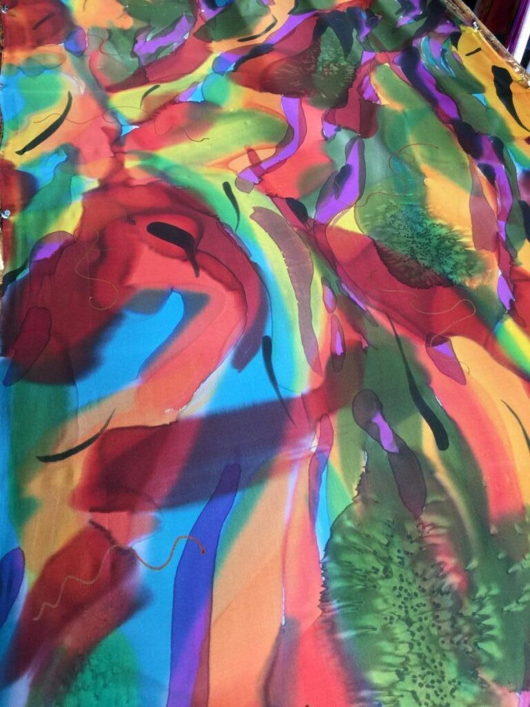 Multicolor Handpainted Silk