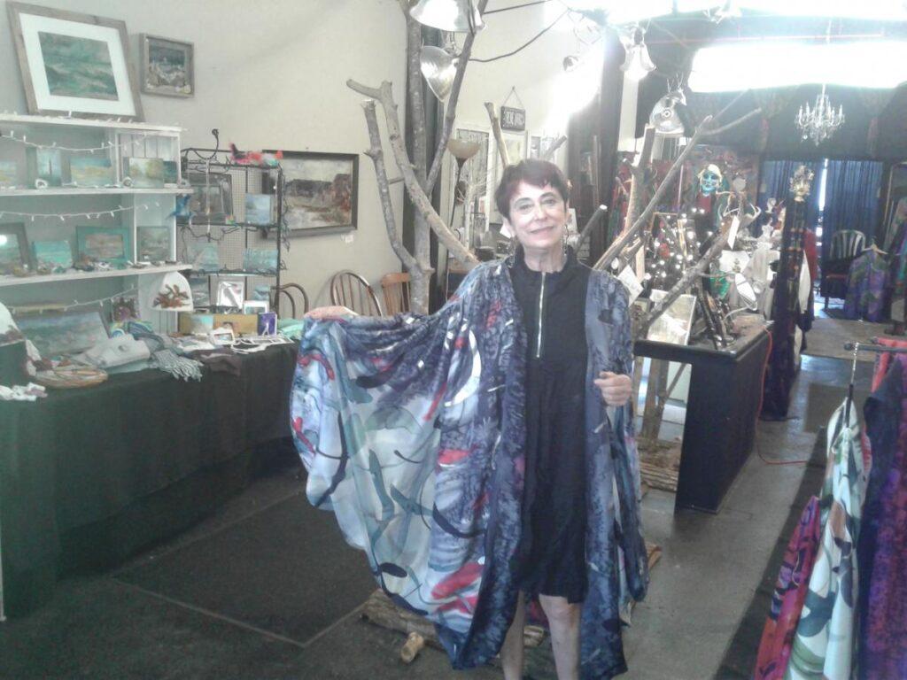 Woman Showing Printed Silk