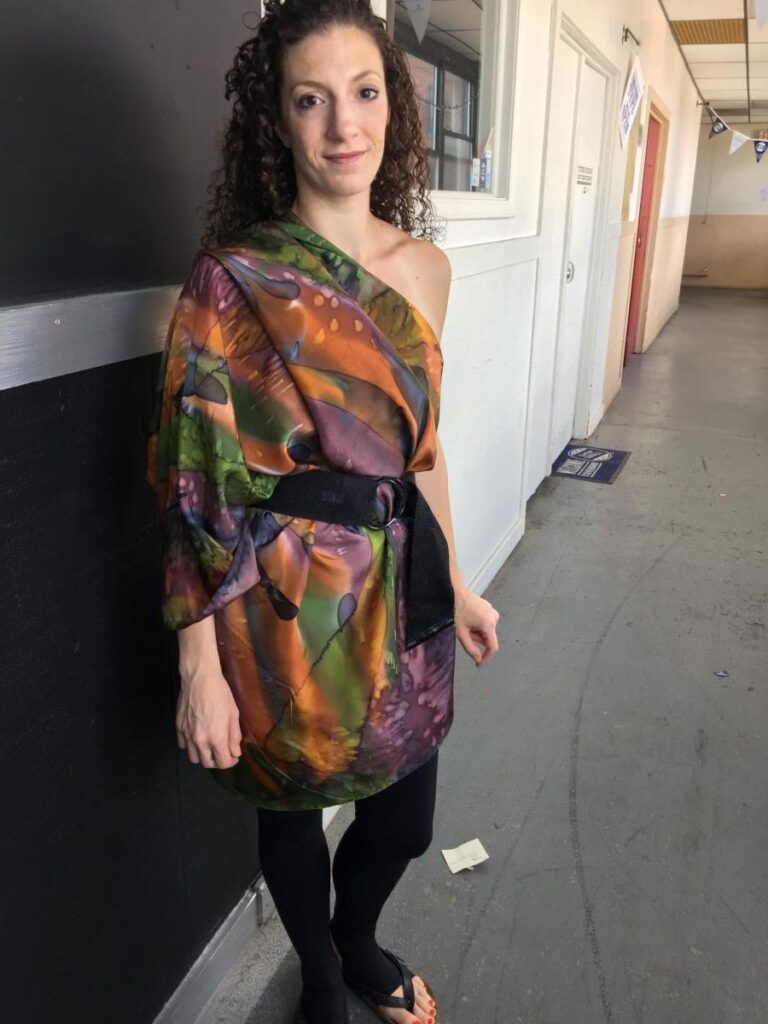 Woman Wearing Printed Cape